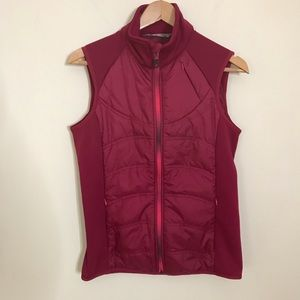 Athleta Puffer Vest Embroidered Motif Pink Small